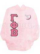 Gamma Phi Beta Greek Letter Satin Baseball Jacket with Embellished Crescent Moon, Pink