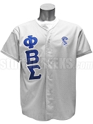 Phi Beta Sigma Greek Letter Button Front Baseball Shirt with Crest, Gray