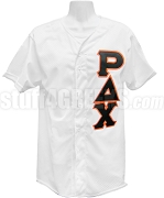 Rho Delta Chi Greek Letter Baseball Jersey, White