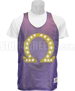 Omega Psi Phi Que Mesh Basketball Jersey with 20 Pearls, Purple