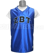 Zeta Beta Tau Greek Letter Basketball Jersey, Royal Blue
