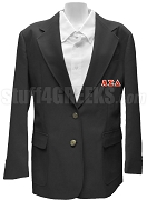Alpha Sigma Delta Blazer Jacket with Greek Letters, Black