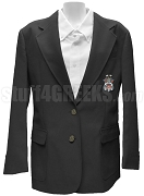 Alpha Tau Mu Ladies' Blazer Jacket with Crest, Black