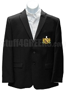 Gamma Phi Omega Fraternity Blazer Jacket with Crest, Black