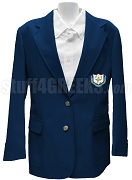 Omega Phi Alpha Blazer Jacket with Crest, Navy Blue
