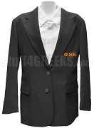 Phi Beta Epsilon Ladies Blazer Jacket with Greek Letters, Black