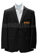 Phi Beta Epsilon Men's Blazer Jacket with Greek Letters, Black