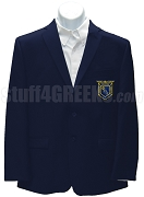 Phi Beta Lambda Men's Blazer Jacket with Greek Letters, Navy Blue