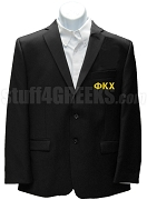 Phi Kappa Chi Blazer Jacket with Greek Letters, Black