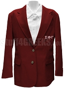 Sigma Phi Gamma Blazer Jacket with Greek Letters, Maroon
