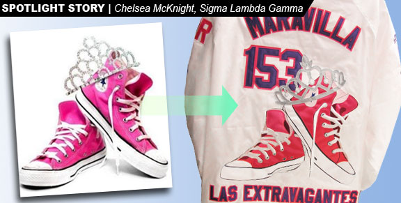 16d94442a8dd Sigma Lambda Gamma Line Jacket with Shocking Pink Converse Shoes