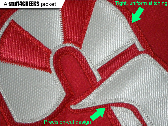 A Greek line jacket from stuff4GREEKS has superior quality.