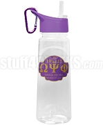 Omega Psi Phi Greek Letter Water Bottle with Founding Year and Que Dog