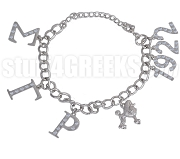Sigma Gamma Rho 1922 Greek Letter Charm Bracelet with Stones, Silver
