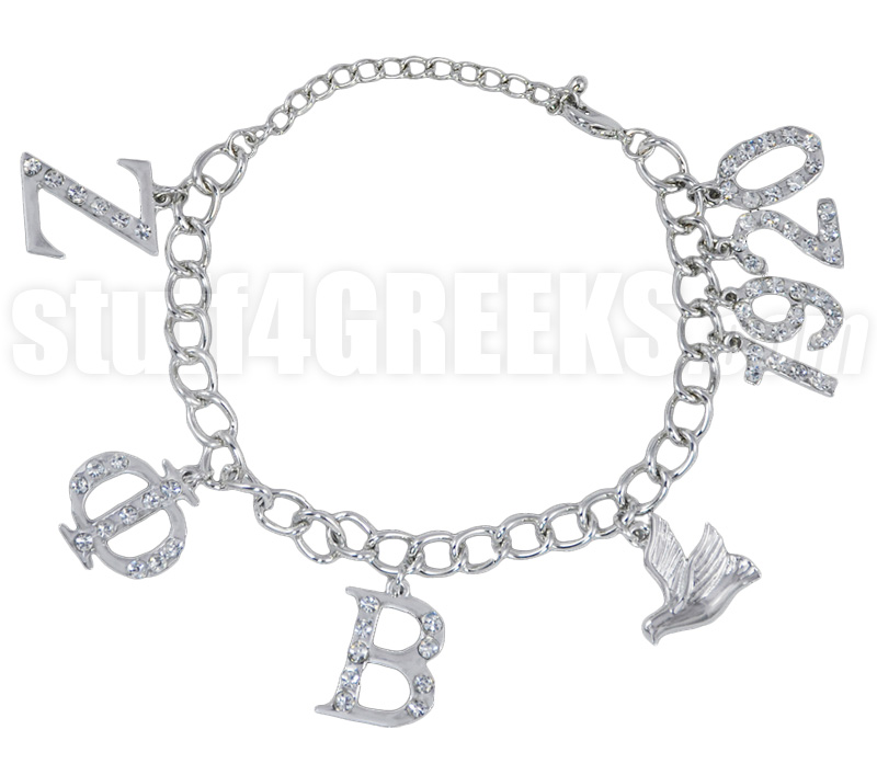 Zeta Phi Beta 1920 Greek Letter Charm Bracelet with Stones, Silver