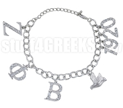 Zeta Phi Beta 1920 Greek Letter Charm Bracelet with Stones, Silver