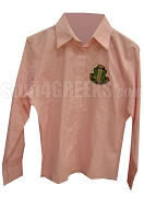 Alpha Kappa Alpha Crest Button Down Shirt, Pink