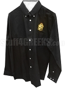 Alpha Phi Alpha Crest Button Down Shirt, Black - EMBROIDERED With Lifetime Guarantee