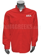 Alpha Pi Lambda Button Down Shirt with Greek Letters, Red