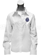 Alpha Zeta Omega Ladies' Button Down Shirt with Crest, White