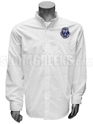 Alpha Zeta Omega Men's Button Down Shirt with Crest, White