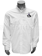 Gamma Xi Phi Men's Button Down Shirt with Crest, White