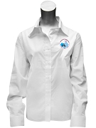 Jack & Jill Ladies Button Down Shirt with Crest, White