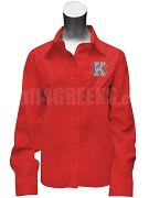 Kappa Epsilon Button Down Shirt with Crest, Red