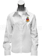 Kappa Psi Ladies' Button Down Shirt with Crest, White