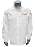 Lambda Omicron Delta Button Down Shirt with Greek Letters, White
