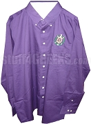 Omega Psi Phi Crest Button Down Shirt, Purple - EMBROIDERED With Lifetime Guarantee