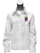 Phi Alpha Delta Ladies Button Down Shirt with Crest, White