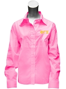Phi Gamma Sigma Button Down Shirt with Greek Letters, Pink