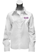 Sigma Alpha Beta Ladies Button Down Shirt with Greek Letters, White