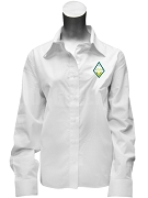 Sigma Alpha Button Down Shirt with Crest, White