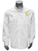 Sigma Epsilon Omega Button Down Shirt with Crest, White