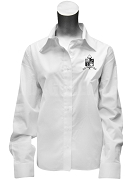 Zeta Phi Zeta Ladies Button Down Shirt with Crest, White