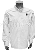 Zeta Phi Zeta Men's Button Down Shirt with Crest, White