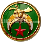 Shriners Round Green Crest Car Emblem