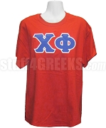 Chi Phi Screen Printed T-Shirt with Greek Letters, Red