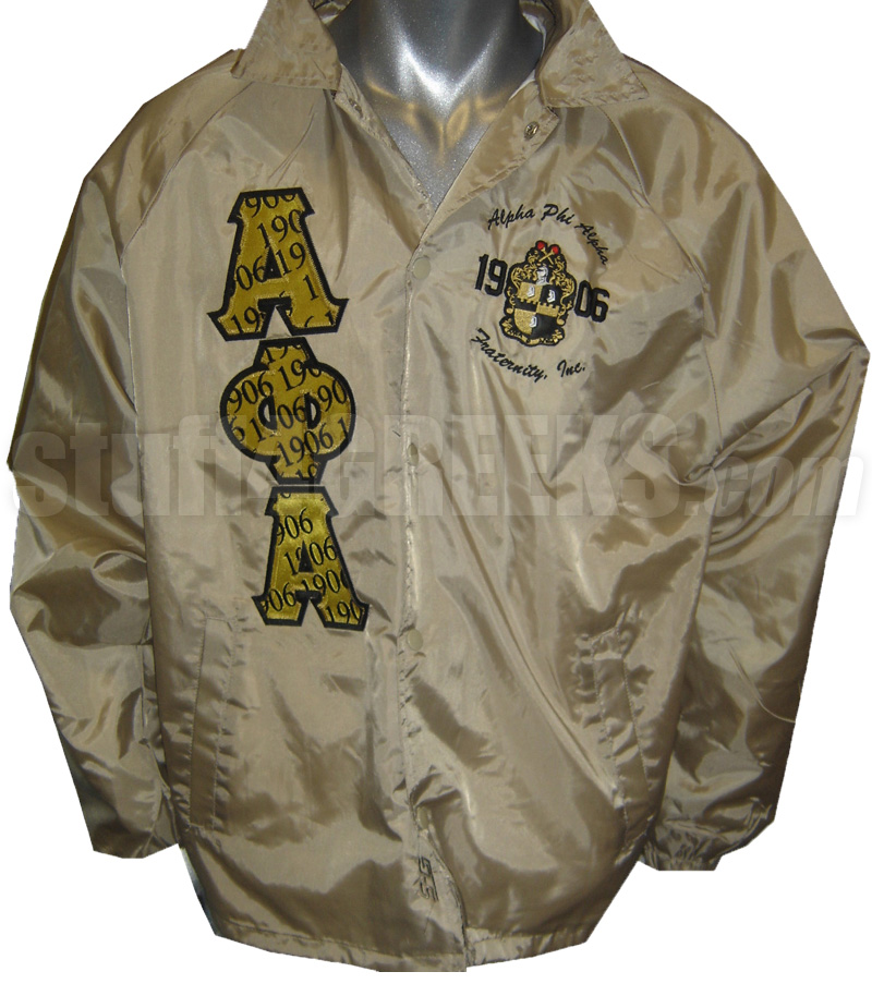 69c38aa6f Alpha Phi Alpha Line Jacket with 1906 Luxury Print Greek Letters and  Embellished Crest, Tan