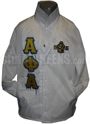 Alpha Phi Alpha Line Jacket with Icy Greek Letters and 1906 Crest, White
