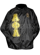 Alpha Phi Alpha Line Jacket with Triple Greek Letters and Crest, Black