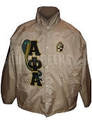 Alpha Phi Alpha Line Jacket with Cobra Greek Letters and Crest, Tan