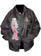 Black Alpha Kappa Alpha Line Jacket with Hot Pink and Green Letters Plus Crest