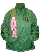 Kelly Green Alpha Kappa Alpha Line Jacket with Pink on Hot Pink Letters and Words Stitched Thru