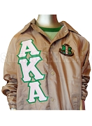 Alpha Kappa Alpha Tan Crossing Jacket with Letters and Crest