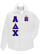 Alpha Delta Chi Line Jacket with Letters and Crest, White