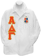 Alpha Delta Gamma Line Jacket with Letters and Crest, White