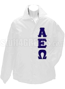 Alpha Epsilon Omega Line Jacket with Greek Letters, White